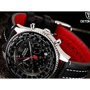 Hodinky značky Detomaso Firenze, luxusní doplněk pro každý den. 73% sleva na černé vodotěsné hodinky značky Detomaso Firenze s koženým páskem. Krásná ruční práce se zárukou dle zákona.