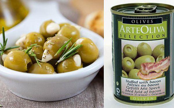 GURMET - 27 Kč za luxusní španělské zelené olivy Arte Oliva plněné modrým sýrem nebo slaninou, 300g.