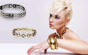 NÁRAMEK Yves Camani se Swarovski krystaly. 74% sleva na POZLACENÝ značkový náramek v dárkové kazetě se zárukou 2 roky. Vhodný jako luxusní DÁREK.