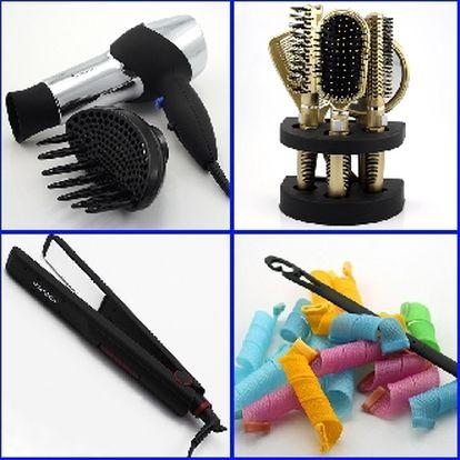 Poštovné ZDARMA! SADA pro péči o vlasy - magnetické natáčky, žehlička,fén, difuzér, kartáče, zrcadlo!