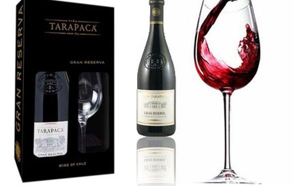 Jedinečná láhev LUXUSNÍHO VÍNA Tarapaca Gran Reserva Cabernet Sauvignon v DÁRKOVÉM BALENÍ se sklenicí ve slevě 37%!