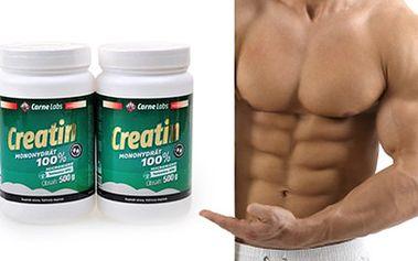 2x 500 g doplňku stravy CREATIN 100% HPLC micro. 2 balení nejpopulárnějšího doplňku výživy pro sportovce. Kreatin má výborné účinky na sílu a objem svalů.