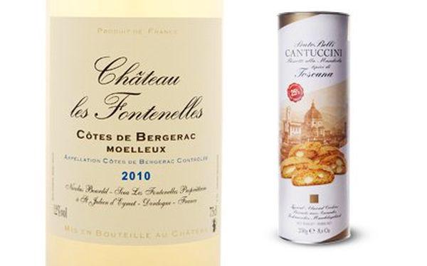 Francouzské víno a věhlasné italské sušenky – zažijte dokonalou harmonii chutí! Polosladké Chateau les Fontenelles Côtes de Bergerac, ročník 2010, z jižní Francie a delikátní sušenky z Toskánska