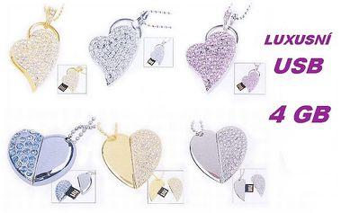 Šperkový LUXUSNÍ USB FLASH DISK ve tvaru SRDCE zdobeného kamínky a velikostí 4 GB a poštovným zdarma !