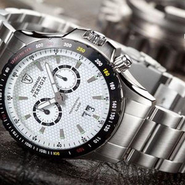 Elegantní pánské hodinky Detomaso – masivní hodinky Perugia Steel od výhradního dovozce pro ČR! K hodinkám záruční karta a hologram pravosti