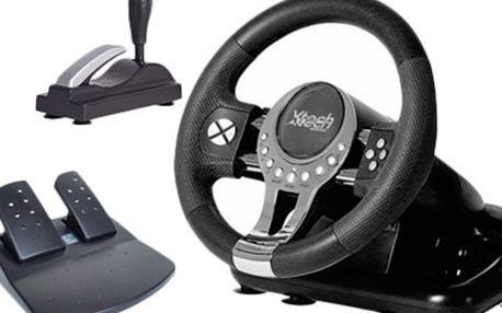 Závodní VOLANT S PEDÁLY a vibrační zpětnou vazbou Volant Xtech MX-V5 Xtreme Racing Wheel s 2 letou zárukou. Balení obsahuje volant, nožní pedály, fixační držák, samostatnou řadící páku, ruční brzdu, kabely a manuál.