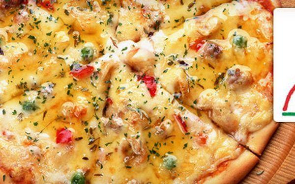SKVĚLÁ OBŘÍ PIZZA (průměr 40 cm) pro dva až tři lidi s 55% slevou jen za 89 korun!! Možnost výhodného nákupu většího množství pizz!! Výběr z 15 druhů!! Ušetřete s námi na jedné pizze až 110 Kč!!
