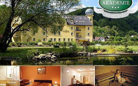 3denní ubytovací balíček pro DVA s bohatou polopenzí v hotelu Akademie u Jeseníků. Skvělé jídlo, stylové ubytování, sauna, vířivka, tenis a víc!