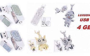 LUXUSNÍ šperkové USB FLASH DISKY v nepřehlédnutelých tvarech zdobených kamínky a velikosti 4 GB a poštovným zdarma !