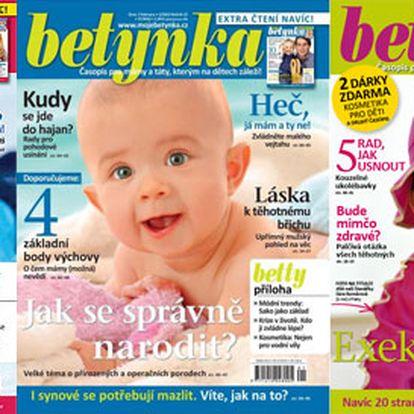 Roční předplatné časopisu Betynka pro rodiče malých školáků, předškoláků i nastávající maminky. 12 čísel o zdraví, výchově, učení i psychologii dětí.