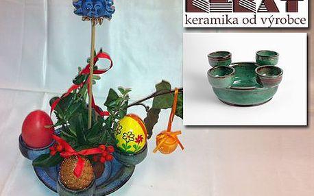 Velikonoční keramický svícen! Speciální okrouhlý aranžérský svícen z keramiky pro 4 svíčky. Podtrhne sváteční atmosféru!
