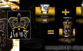 4x Empire drink - jemně perlivý alkoholický energetický nápoj. Koktejl, obsahující jeden velký panák vysoce kvalitní vodky smíchaný s energy drinkem.