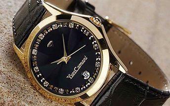 POZLACENÉ HODINKY Yves Camani se Swarovski krystaly Luxusní hodinky s řemínkem z italské kůže a s ultra rezistentním minerálním sklíčkem odolným vůči poškrábání.