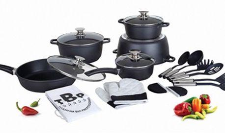 Sada s 21 kusy: TITANOVÉ NÁDOBÍ+ kuchyňské doplňky. Hrnce mají vnitřní povrchovou vrstvu Quantanium, jsou vhodné pro všechny typy vařičů a omyvatelné v myčce. Součástí je také kuchyňské náčiní, zástěra i chňapky. Vybavte si Vaši kuchyni.