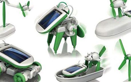 Naučná stavebnice SolarBot 6v1na SOLÁRNÍ POHON Se stavebnicí SolarBot 6v1 snadno a rychle postavte 6 modelů: letadlo, auto, loď, vznášedlo, mlýn nebo pejska. S pomocí sluneční energie je potom rozpohybujte. Zabaví nejen vaše děti.