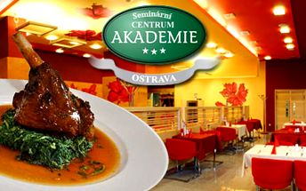 Velikonoční menu pro 2! Přijďte si vychutnat exkluzivní jídlo do Akademie Ostrava za lahodných 499Kč. Výborně vyladěné menu zakončené famózním dezertem s 45% slevou.
