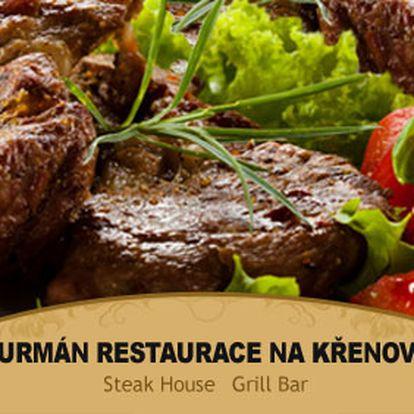 60% sleva na 1kg steaků v restauraci Gurmán! Vyberte si z kuřecího, vepřového nebo hovězí roštěné a užijte si pořádné masové hody! Pochutnejte si s poukazem za 39Kč.