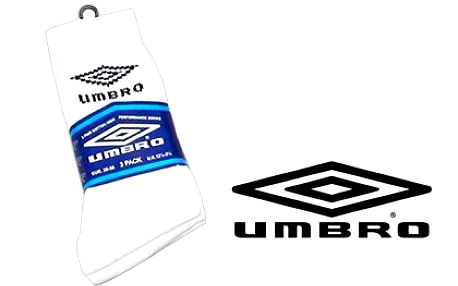 3 páry pánských ponožek UMBRO – v bílé barvě ve velikostech 35–38, 36–42 a 40–46