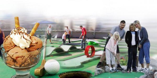 2 hodiny MINIGOLFU s občerstvením na terase NC Tesco Eden za skvělých 84 Kč! Přijďte si zahrát na terasu s naší slevou 50% a zapůjčením holí a míčku v ceně!