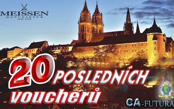Posledních 20 volných voucherů na zájezd do saské Míšně. Uvidíte proslulou manufakturu porcelánu s 300-letou historií. Navštívíte muzeum míšeňského porcelánu, historické centrum města i hrad Albrechtsburg. Na závěr si můžete odpočinout v Café Meissen.