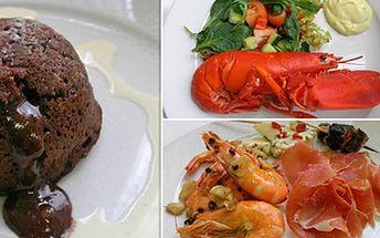 3chodové menu pro DVA v restauraci El Cid Bar de Tapas Předkrm, hlavní chod a dezert v jedné z nejlepších španělských restaurací v ČR. Výběr z několika variant hlavních chodů- humr, losos, krkovice.