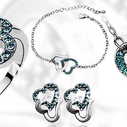 Čtyřdílný set se Swarovski Elements - DOUBLE HEARTS!!! Dokonalý šperk, který Vás ozdobí!! Dopřejte si krásný doplněk nebo ho darujte!