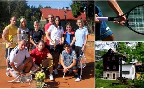 Týdenní tenisová dovolená v Jizerských horách Rejdice s plnou penzí za 7000Kč! 15 hodin tenisu, turnaj o ceny a večerní grilování, wellness v ceně..