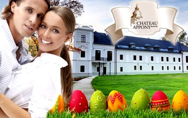 3-dňový veľkonočný pobyt pre 2 osoby v atraktívnom renesačnom hoteli Chateau APPONY**** pri Nitre! V cene polpenzia - tradičné veľkonočné špeciality, voľný vstup do saunového a bazénového sveta, masáž a večer s ľudovou hudbou!