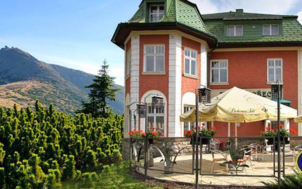 2288 Kč za TŘI dny v Krkonoších pro DVA. 4* horský hotel Hořec, tříchodová večeře plná krkonošských specialit a relax ve vířivce s protiproudem.