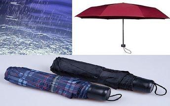 Jen 49 Kč za skládací deštník průměr 100 cm různé barvy.