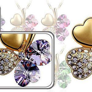AKCE!!! Pozlacený nebo postříbřený čtyřlístek i s řetízkem - Swarovski Elements!!! Na výběr široká škála barev!