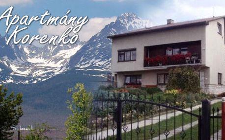 2 Denní pobyt pro 1osoba v apartmánu Korenka jen za 212 Kč! Odpočiňte si v krásném a tichém prostředí pod Tatrami nyní s HyperSlevou 51 %!
