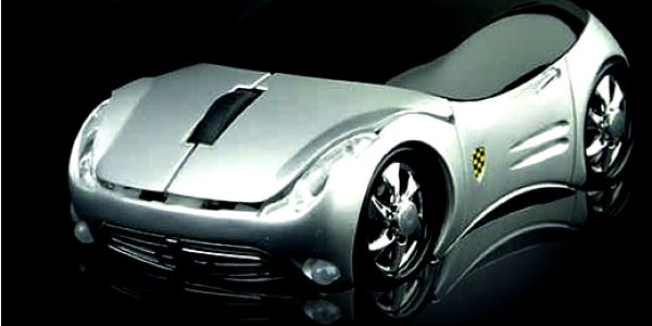 Luxus na Vašem stole! Brutální sleva 67% na luxusní USB myš (stříbrnou) ve tvaru sportovního auta
