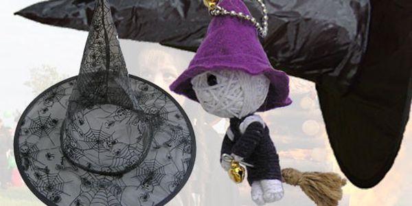 """Čarodějnický klobouk a woodoo přívěšek """"čarodějnice"""" za bezkonkurenční cenu 99 Kč."""