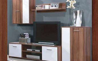 Čtyřdílná OBÝVACÍ STĚNA v dekoru ořech/bílá a švestka/černá Součástí obývací stěny je televizní stolek, závěsná police, závěsná skříňka s plnými dvířky a komoda. Vybavte si domov moderním kvalitním nábytkem.