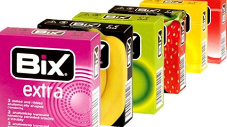 Balíček 120 ks KONDOMŮ značky BiX, poštovné zdarma Balíček obsahuje 36 ks kondomů Basic, 36 ks s jahodovou příchutí, 12 ks Extra, 12 ks Soft Touch, 8 ks s banánovou příchutí, 8 ks Hot a 8 ks kondomů Max. V ceně poštovné.