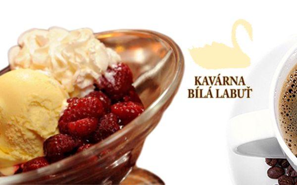 3 kopečky zmrzliny s horkými malinami + espresso z čerstvě pražené kávy. Hlavní myšlenka Kavárny Bílá Labuť je, že čestvě pražená káva je nejlepší. Přijďte se o tom přesvědčit!