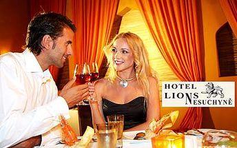 Romantická neděle – 4chodové degustační menu, vstup do wellness a bazénu a láhev španělského vína. Ubytování z neděle na pondělí, platí pro 1 osobu