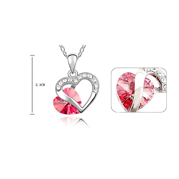 Luxusní přívěšek s broušeným růžovým srdíčkem a stříbrnými kamínky z chirurgické oceli s řetízkem 40 cm! Poštovné pouze 25 Kč!