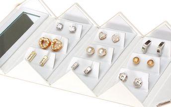 890,- Kč za luxusní set náušnic Pierre Cardin! 9 párů romantických náušnic v různých tvarech! Sleva 70%!