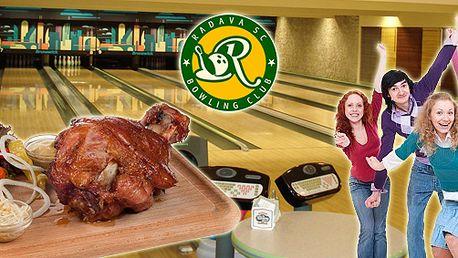 2 hodiny bowlingu (max. 8 hráčů) a tác plný pečeného masa (Krkovičkův mls) v jednom z největších bowlingových center u nás!