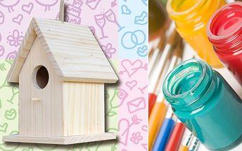 Namalujte si vaši nejkrásnější ptačí budku - kreativní sada za 334 Kč! Dvě ptačí budky, štětce, barvy a lak. Ideální i pro rozvíjení kreativity u dětí!