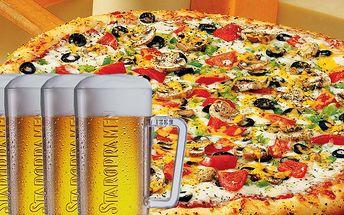 139,- Kč za pizzu Silváno nebo Americana a 5 piv Staropramen 11°! Dejte si pořádnou porci! Sleva 44%!