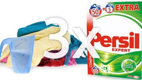 3x PRACÍ PRÁŠEK PERSIL Expert Regular: vystačí na 165 praní 3 balení PERSIL Expert Regular, z nichž každé obsahuje 55 pracích dávek. Koncentrovaný prací prášek na bílé i barevné prádlo s technologií Cold Active. Osobní odběr v Brně.