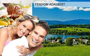 3denní balíček s polopenzí pro 2 osoby v pensionu Adalbert přímo u jezero Lipno jen za 1 799 Kč. Platnost kupónu do konce září. Nádherná příroda, jezero, bohaté sportovní vyžití a spoustu výletů.