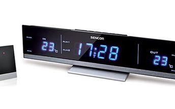 RADIOBUDÍK s TEPLOMĚREM a opakovaným buzením Radiobudík s duálním alarmem, opakovaným buzením, velký modrým LED displejem a bezdrátovým senzorem pro měření venkovní teploty.