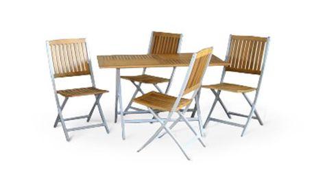 ZAHRADNÍ NÁBYTEK z masivu: stůl a 4 židle Set zahradního nábytku - stůl a 4 židle - vyrobený z masivu v kombinaci s hliníkem. Doplňte svou zahradu o nábytek, který bude krásně zapadat do barev přírody.