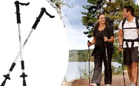TREKINGOVÉ TELESKOPICKÉ HOLE: 1 pár pro zdravější sportování Trekingové teleskopické hole s antishockem, nastavitelnou tyčí, plastovými rukojeťmi, kompasem a kroužky. Odlehčete kloubům a sportujte zdravě.