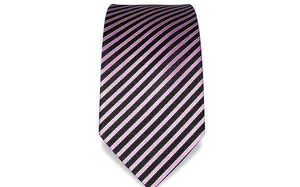 Hedvábná kravata - pruhovaná - růžovo-černá