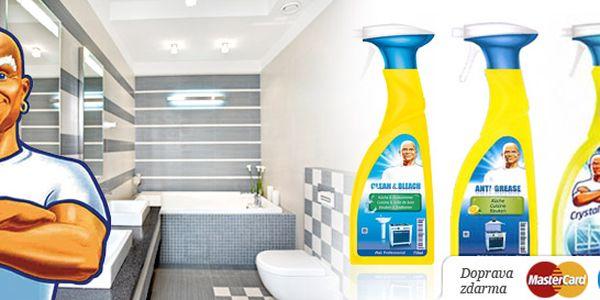 Tři 750ml čistící prostředky Mr. Proper ve spreji. Crystal Clear na okna, Anti Grease proti mastnotě a Clean&Bleach do koupelny. Rozzařte svůj domov!